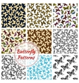 Butterflies and moth seamless patterns set vector image vector image