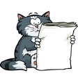 cat is reading the newspaper vector image vector image