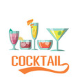 cocktail set of cocktail background image vector image