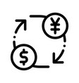 currency money dollar yen thin line icon vector image vector image