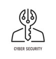 cyber security line icon on white background vector image