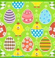 easter seamless background with funny chickens vector image vector image