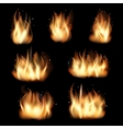 Fire flames set on black background vector image vector image