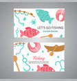 fishing card lake time text banners with quotes vector image