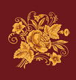 floral pattern painting flowers on burgundy vector image vector image