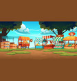 food market wooden stalls traditional marketplace vector image