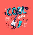 hand drawn rock and roll elements vector image vector image
