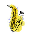 hand drawn saxophone jazz music concept ink vector image