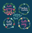 hand drawn spring wreaths with text hello spring vector image
