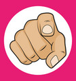hand with pointing finger on a white background vector image