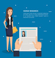 hands with curriculum vitae and woman vector image vector image
