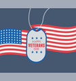 happy veterans day soldiers badge on background vector image vector image