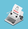 isometric typewriter with words ghostwriter on vector image vector image