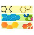linear hexagon brochure cards design vector image