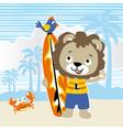 lion surfer cartoon vector image vector image