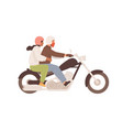 love couple on motorcycle together man in helmet vector image vector image