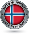 Made in Norway silver label with flag vector image
