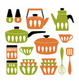 mid century modern kitchen poster collection vector image vector image