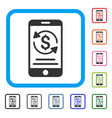 mobile payment framed icon vector image