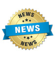 news 3d gold badge with blue ribbon vector image vector image
