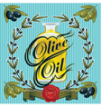 olive oil sprigs of olives and stamp vector image vector image