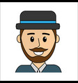 people happy face man with hat icon vector image vector image