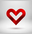 red abstract heart sign with metal texture vector image