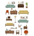 Retro furniture with interior accessories vector image