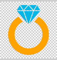 ring with diamond icon in flat style gold jewelry vector image