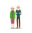 senior couple two aged people stand elderly man vector image