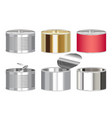 set a steel cylinder canned food box vector image