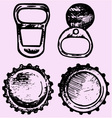 set bottle caps metal ring pull vector image