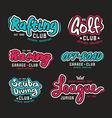 set of vintage lettering logo rafting diving golf vector image vector image