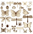 set stylized insects for decorating your work vector image