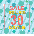 Special Offer 30 Percent On Colorful Green Bubbles vector image