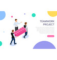 teamwork project concept with characters can use vector image vector image