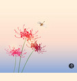 three red chrysanthemum flowers and dragonfly on vector image vector image