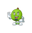 waiter casimiroa fruit cartoon character with vector image vector image