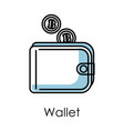 wallet isolated icon bitcoin mining and vector image