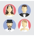 wedding couple avatar flat design vector image