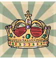 vintage grunge background with crown vector image
