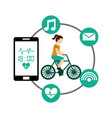 cartoon woman riding bike sport smartphone heart vector image