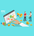 3d isometric flat concept ppc digital vector image