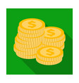 a pile of coins for reckoning in a casino vector image vector image