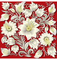 abstract silver floral ornament on red background vector image