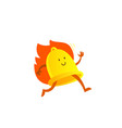 bell alarm character mascot running on fire call vector image