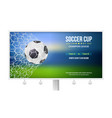 billboard with soccer match game moment with goal vector image vector image