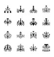candelabra lamp glyph icons vector image