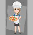 chef woman holding tasty italian pizza cute vector image vector image