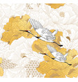 chinese seamless pattern with gold texture peony vector image